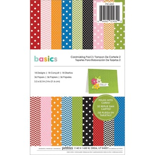 "Basics Cardmaking Pad 5.5""X8.5"" 36/Sheets-#2 Primaries, 18 Designs/2 Each"