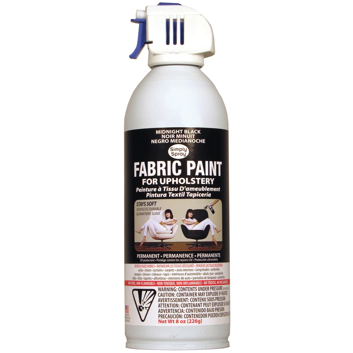 upholstery spray fabric paint midnight black 8 oz cans restorations. Black Bedroom Furniture Sets. Home Design Ideas