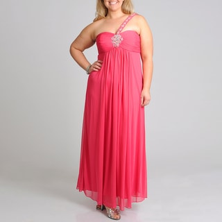 Xscape Women's Plus Size Rose Beaded Evening Gown