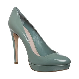 Miu Miu Women's Pale Teal Patent Leather Platform Pumps