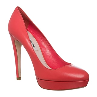 Miu Miu Women's Coral Platform Leather Pumps