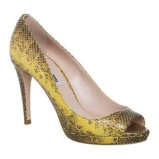 Miu Miu Women's Reptile-embossed Leather Peep-toe Pumps
