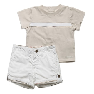 Burberry White Check Trim Tee and Shorts Set
