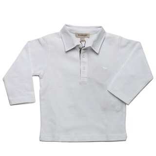Burberry Boy's White Pique Long Sleeve Polo Shirt