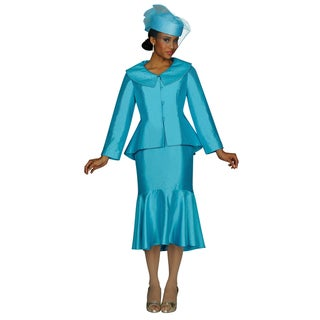 Divine Apparel Women's Turquoise Skirted Suit Set