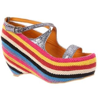 Fahrenheit Women's 'Fig-01' Cross-strap Wedge Sandals