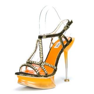 Celeste Women's 'Camilia-03' Two-tone Rhinestone Vamp Platform Sandals