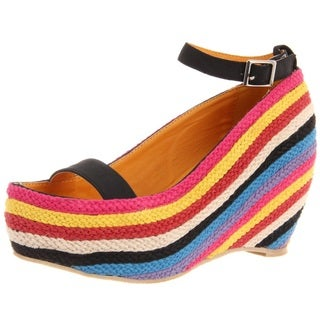 Fahrenheit Women's 'Fig-02' Slingback Rainbow Wedge Sandals
