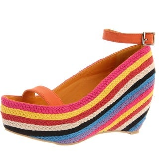 Fahrenheit Women's 'Fig-02' Orange Slingback Rainbow-Wedge Sandals