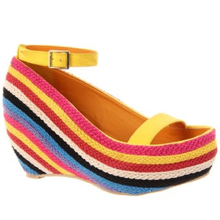 Fahrenheit Women's 'Fig-02' Yellow Slingback Rainbow-Wedge Sandals