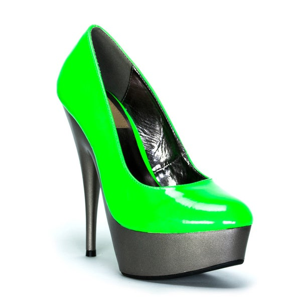 Fahrenheit Women's 'Hugo-25' Green Neon Upper with Metallic Platform High Heels
