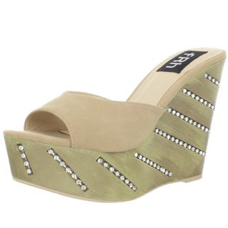 Fahrenheit Women's Taupe 'Leryn-01' Rhinestone-detailed Wedge Pumps