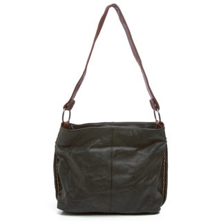 Black Convertible Whipstich Hobo Bag