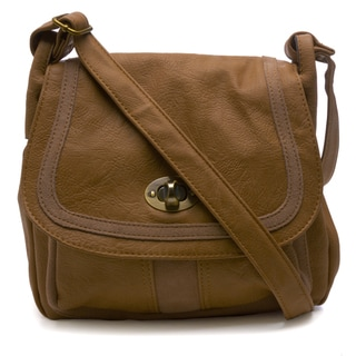 Camel Leather Trim Saddle Bag