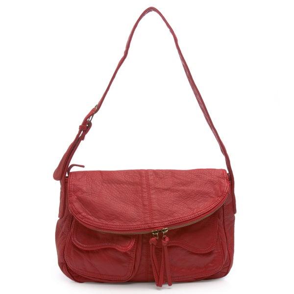 Zip-Flap Coral Handbag