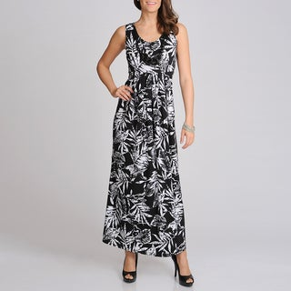 Lennie for Nina Leonard Women's Black and White Tropical Print Maxi Dress