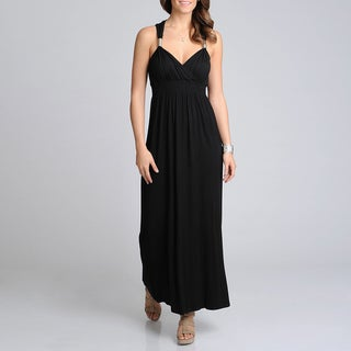 Lennie for Nina Leonard Women's Black Metal Strap Maxi Dress