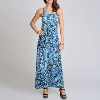 Lennie for Nina Leonard Women's Blue Animal Print Maxi Dress