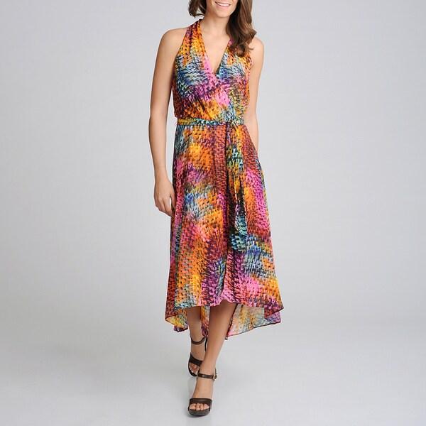 Lennie for Nina Leonard Women's Animal Printed High-Low Dress