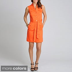 Lennie for Nina Leonard Women's Sleeveless Cotton Shirtdress