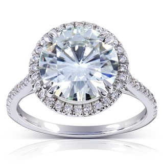 Annello 14k Gold Round-cut Moissanite and 1/4 ct TDW Diamond Engagement Ring (G-H, I1-I2)