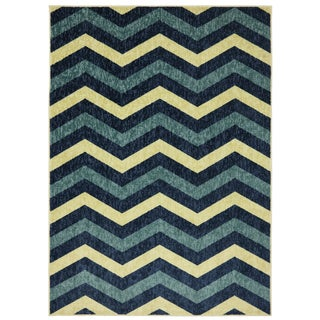 Simple Chevron Blue Rug (5' x 7')