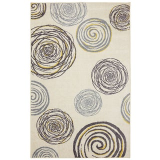 Spirals Yellow Rug (5' x 8')