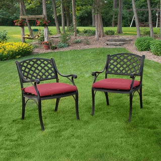 Black Solid Cast Aluminum Patio Dining Chairs Set Of 2 Overstock Shoppin