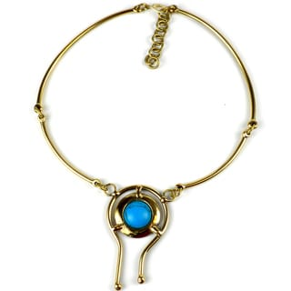 Handcrafted Turquoise Balance Brass Necklace (South Africa)