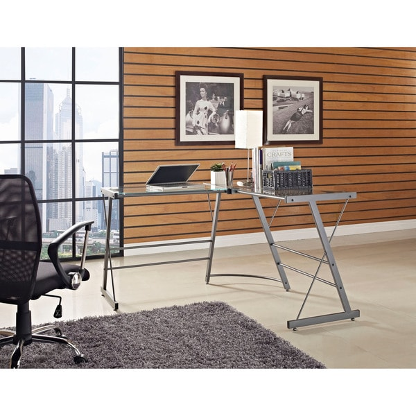 Altra Glass L-Shaped Computer Desk