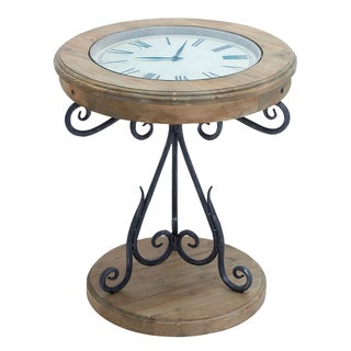 Casa Cortes Exposed Wood Round Clock Coffee and End Table