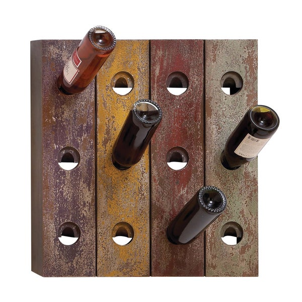 Aged Wood Multi-color Wall Mount 12-nottle Wine Rack