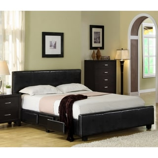 Furniture of America Larington Modern Leatherette Platform Bed with Storage