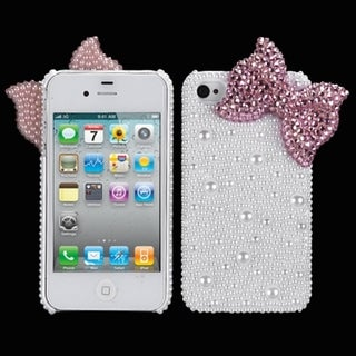 MYBAT Pink Bow Pearl Diamante Case for Apple iPhone 4/ 4S