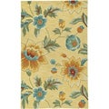 LNR Home Enchant Yellow Floral Area Rug (5'3 x 7'5)