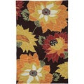 Hand-Hooked Brown Floral Area Rug (5' x 7'9)