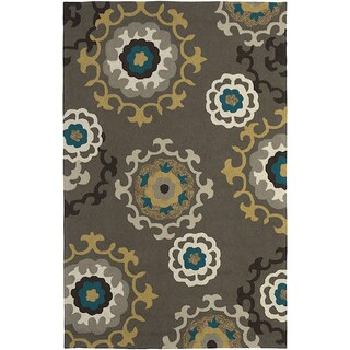 LNR Home Enchant Grey Floral Geometric Area Rug (7'9 x 9'9)