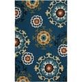 LNR Home Enchant Blue Floral Geometric Area Rug (5'3 x 7'5)