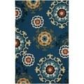LNR Home Enchant Blue Floral Geometric Area Rug (7'9 x 9'9)