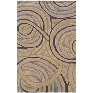 Hand-tufted Geometric Circles Beige Area Rug (9' x 12'9)