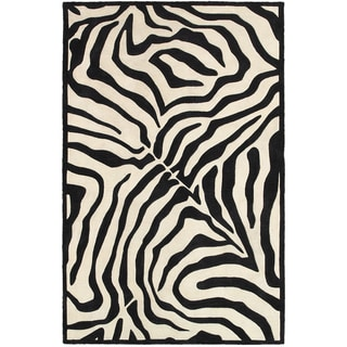LNR Home Fashion Black/ Cream Animal-print Area Rug (7'9 x 9'9)