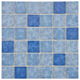 SomerTile 11.875x11.875-in Watermark Square 2-in Aegean Porcelain Mosaic Tile (Pack of 10)