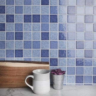 SomerTile 12.25 x 12.25-inch Watermark Square Aegean Porcelain Mosaic Tile (Pack of 10)