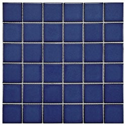 SomerTile 11.875x11.875-in Ocean Square 2-in Bering Porcelain Mosaic Tile (Pack of 10