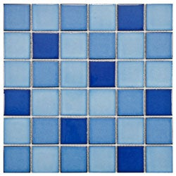 SomerTile 11.875x11.875-in Ocean Square 2-in Marine Porcelain Mosaic Tile (Pack of 10)