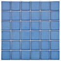 SomerTile 11.875x11.875-in Ocean Square 2-in Cerulean Porcelain Mosaic Tile (Pack of 10)