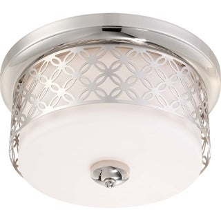 Nuvo Margaux 2-light Polished Nickel Flush Dome Fixture
