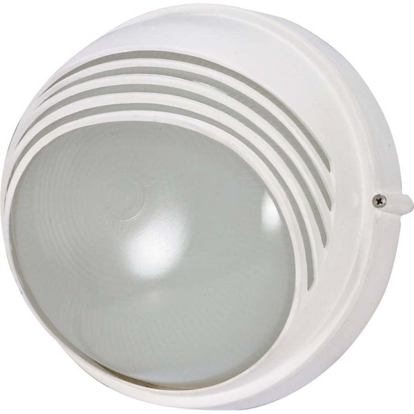 Nuvo 1-light Semi Gloss white Round Hood Bulk Head