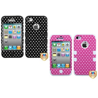 INSTEN Pink Heart Dots Phone Case Cover for Apple iPhone 4/ 4S