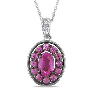 Miadora 14k Two-Tone Gold Pink Sapphire and Diamond Necklace